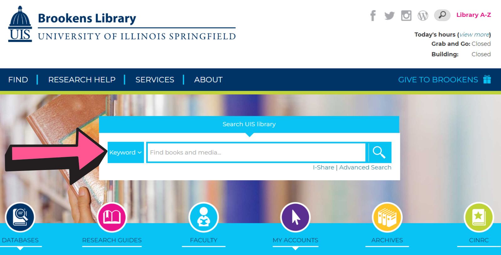 Arrow points to library catalog search box on library homepage