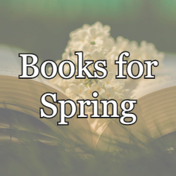 A picture of a flower in a book. The text reads Books for Spring