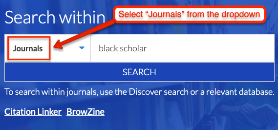 "screenshot of Discover dropdown menu with ""Journals"" selected"