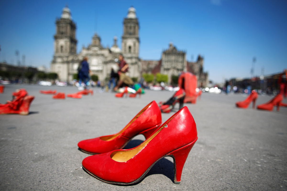 red shoes artwork on public display