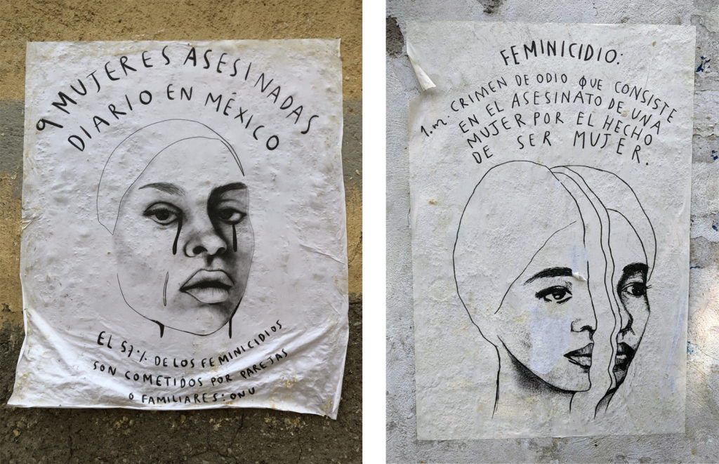 posters about femicide by Mexico City-based artist Sofia Weidner