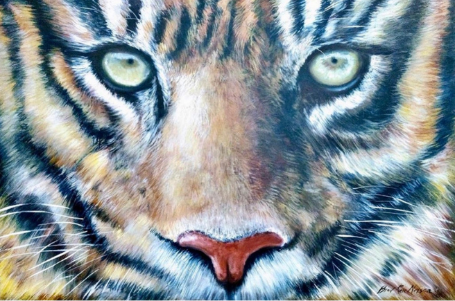 Painting of Bengal Tiger face by Brad Ren Nelson