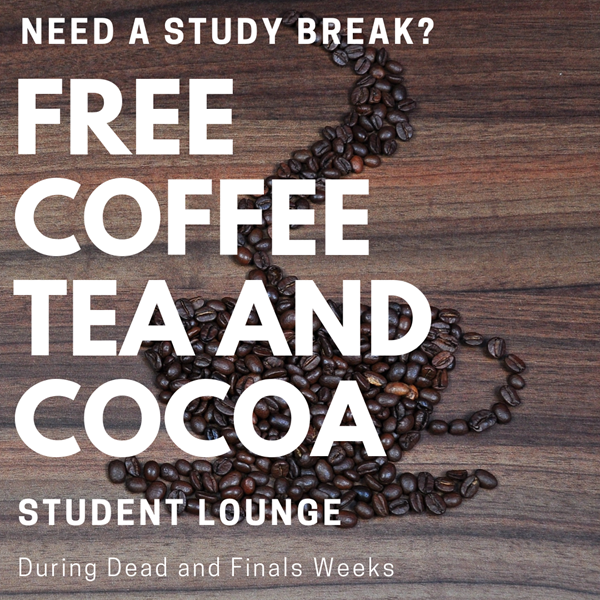 Free coffee, tea and hot cocoa in the student lounge at Oboler Library during finals week