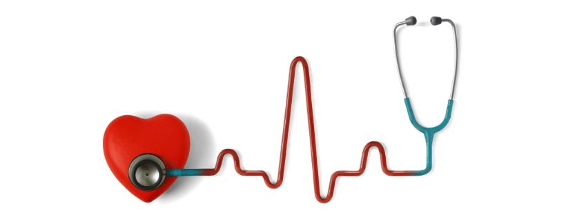 Image of a red heart and blue stethoscope