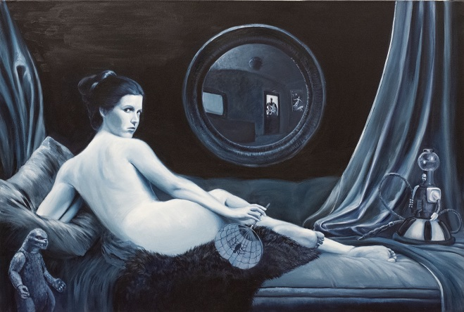 Painting of Princess Leia in repose by Brad Ren Nelson