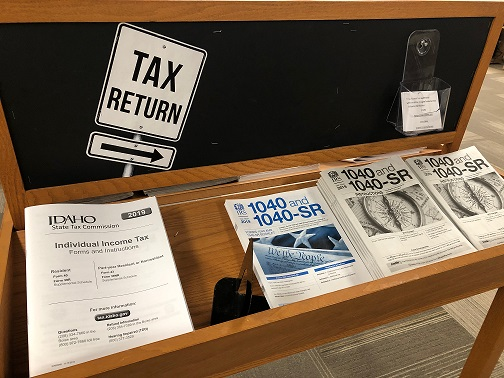 Photo of Tax display at Oboler Library