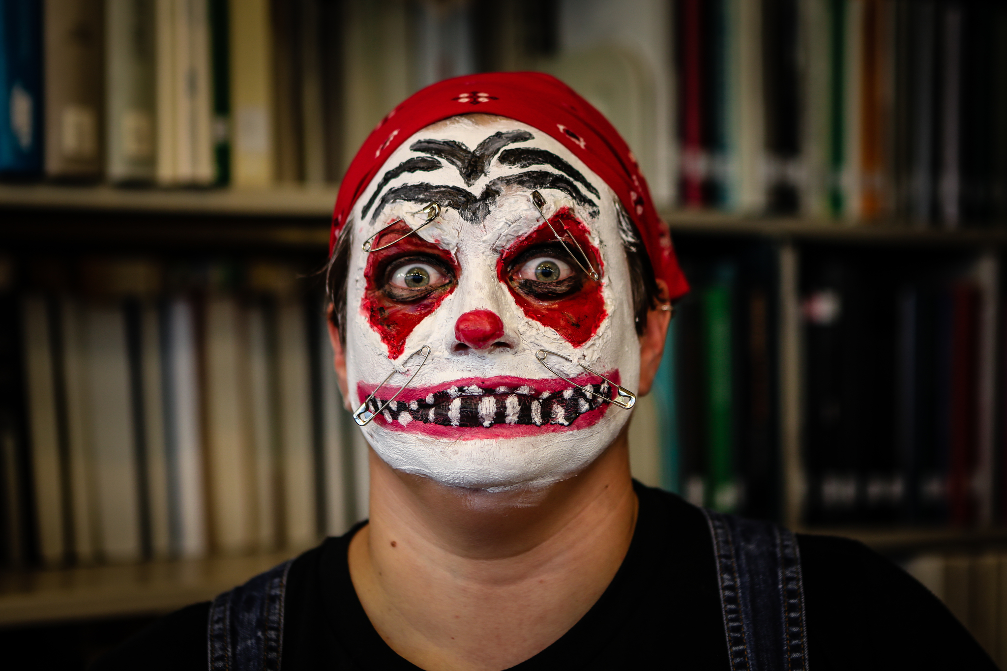 Haunted library clown actor