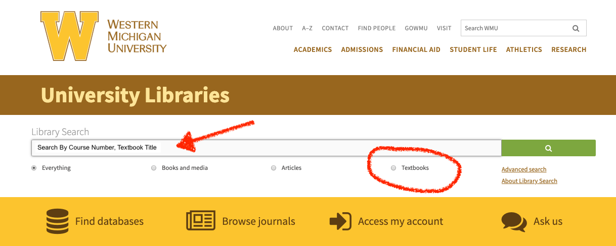 Search by course number or textbook title and be sure to select the Textbook radial button option.