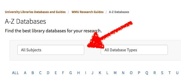 screenshot of the a-z databases page and highlights the all subjects menu