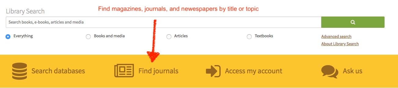 points to Find Journals in the action bar.