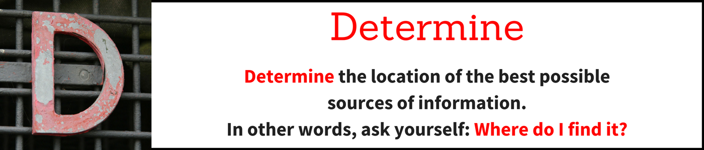 Determine banner: Determine the location of the best possible sources of information.  In other words, ask yourself: Where do I find it?
