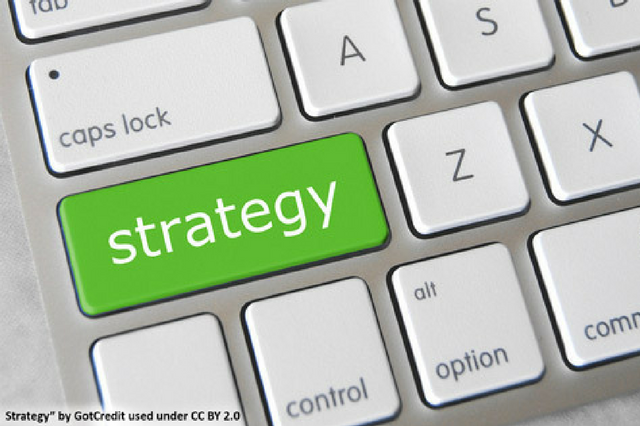 Shift key on a computer keyboard is replaced with the word strategy