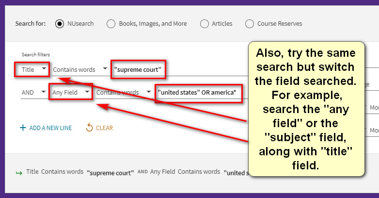 Advanced search in NUsearch shows examples of how to search, such as searching on the phrase legal system in quotes and combining this with the word or plus the phrase rule of law in quotes, which finds either or both of these related phrases.  Combine this with the word and.  Then add additional words like united states or america.