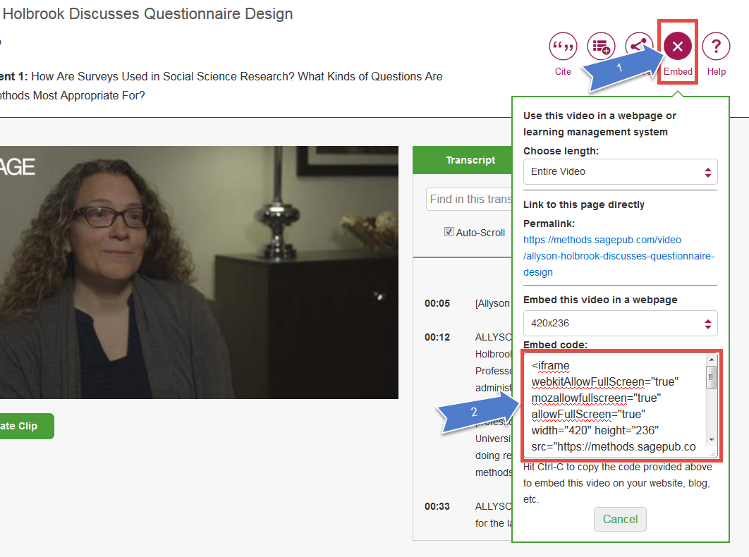 embed a Sage Research Methods video