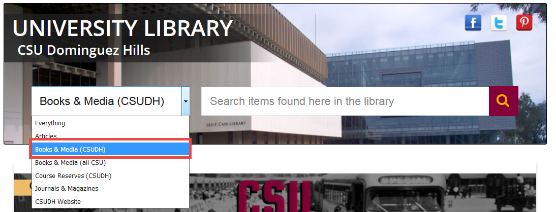 screenshot search from library homepage