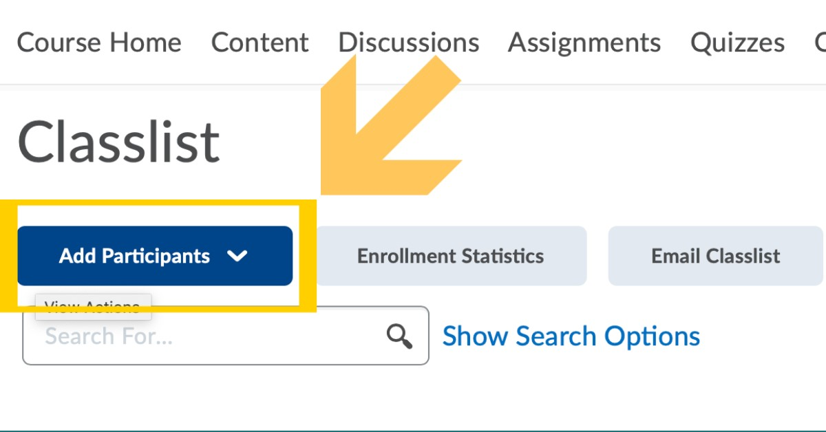 Yellow arrow pointing to Add Participants under Classlist in D2L.