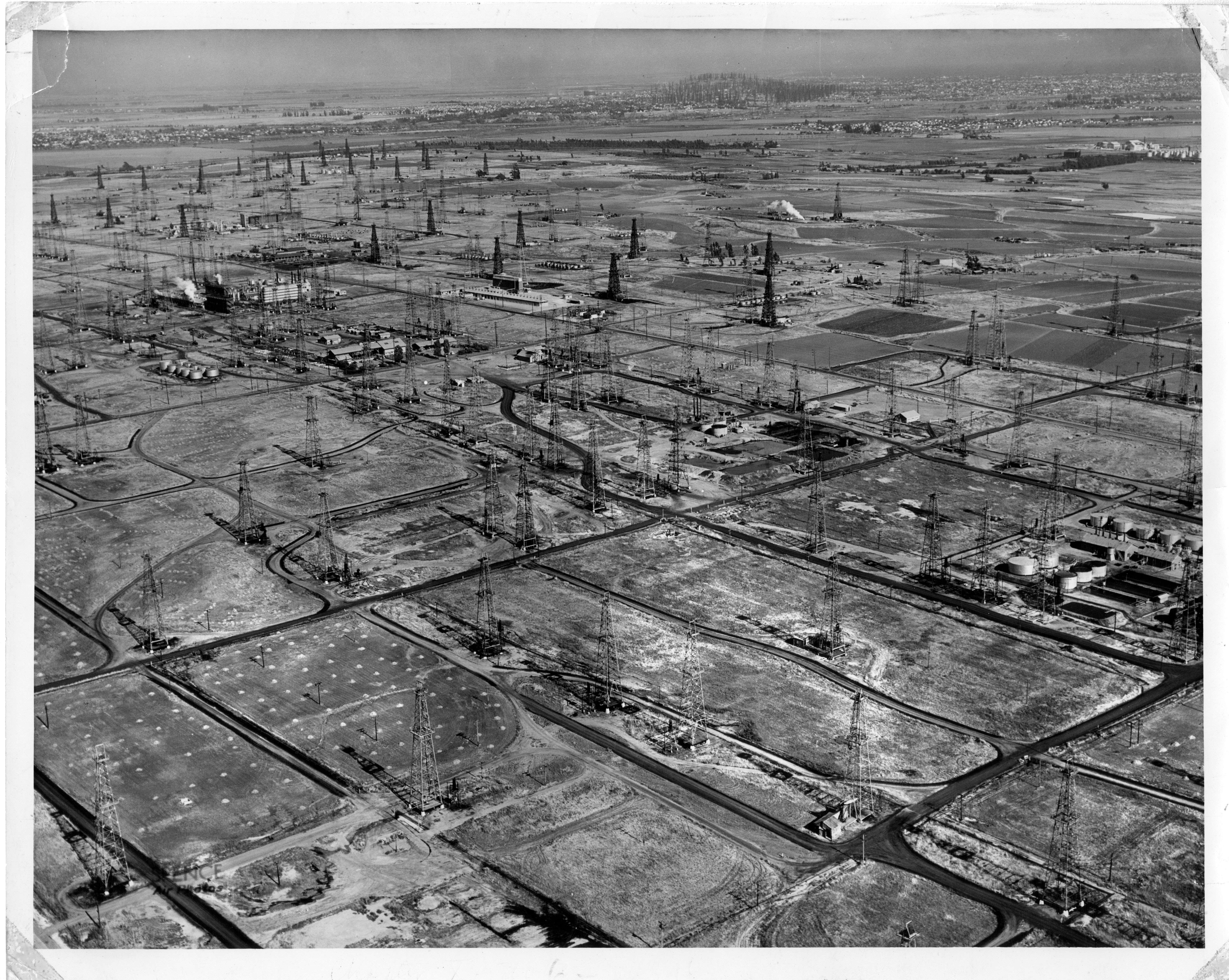 Aerial view of Rancho San Pedro oil wells