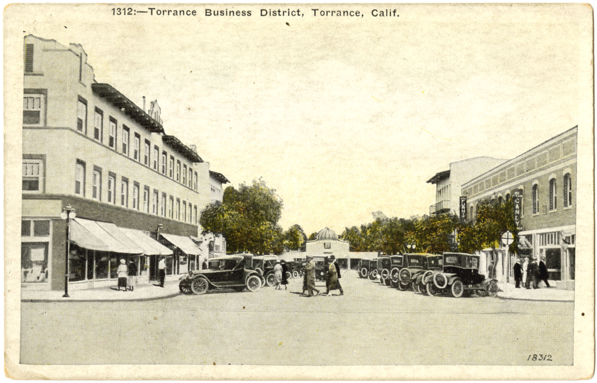 Postcard drawing of Torrance Business District
