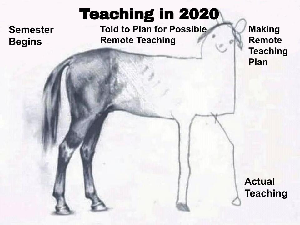 "A drawing of a horse, that gets progressively less and less realistic, with the words ""Semester Begins"" where the drawing is most realistic and the words ""Told to Plan for Possible Remote Teaching"" and ""Making Remote Teaching Plan"" where the drawing gets more childlike and simple. The drawing ends on the right side with just a line drawing of the horse's foot, with the words ""Actual Teaching"" next to it."