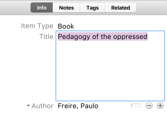 Screenshot of an item record being edited in Zotero