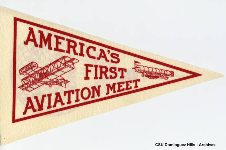 Replica of 1910 Aviation Meet pennant that states