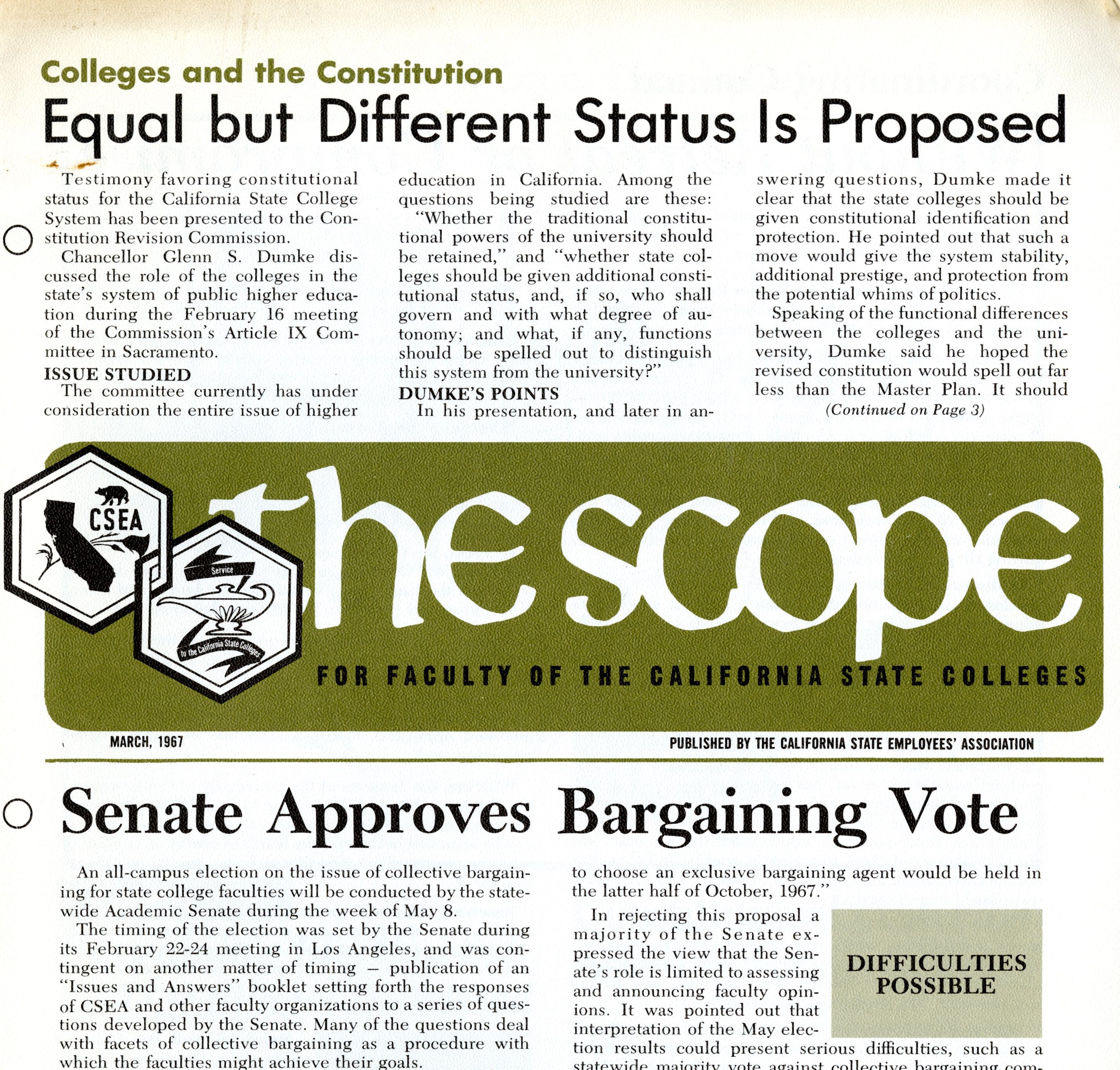 The Scope, Newsletter for Faculty of the California State Colleges