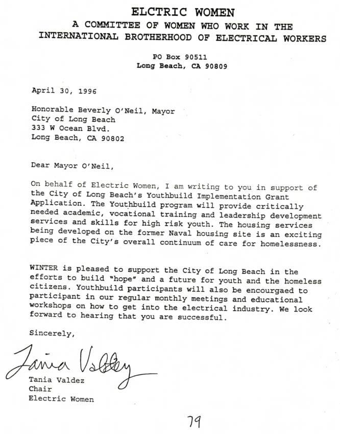 typewritten letter from the Tradeswomen Archive