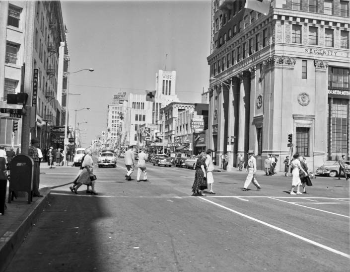 black-and-white photograph of Downtown Long Beach