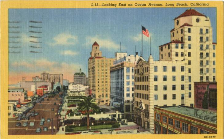 illustrated postcard of buildings on Ocean Boulevard in Long Beach, California