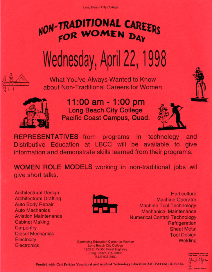 Flyer for a Long Beach City College non-traditional careers for women event.