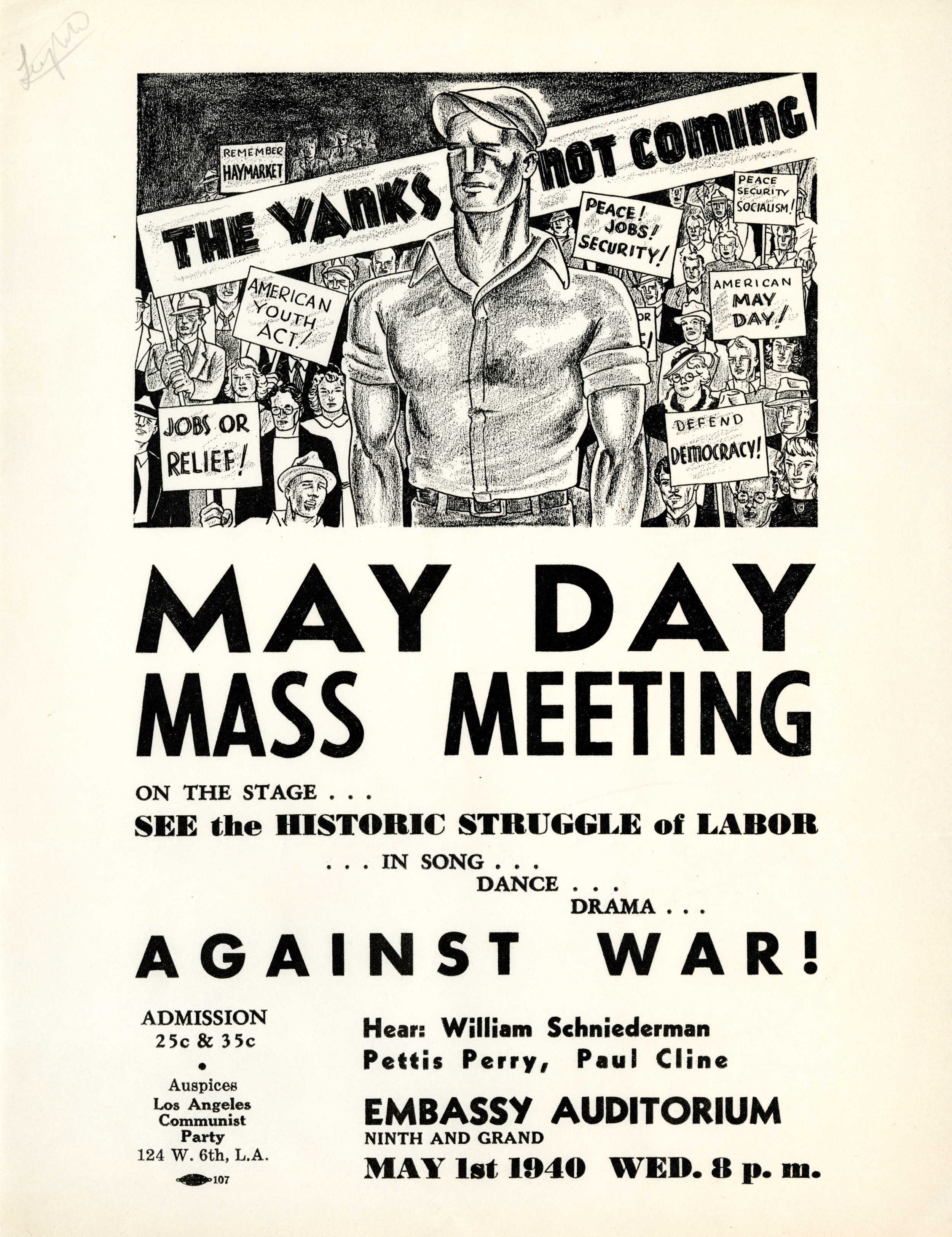 image of May Day Mass Meeting flyer