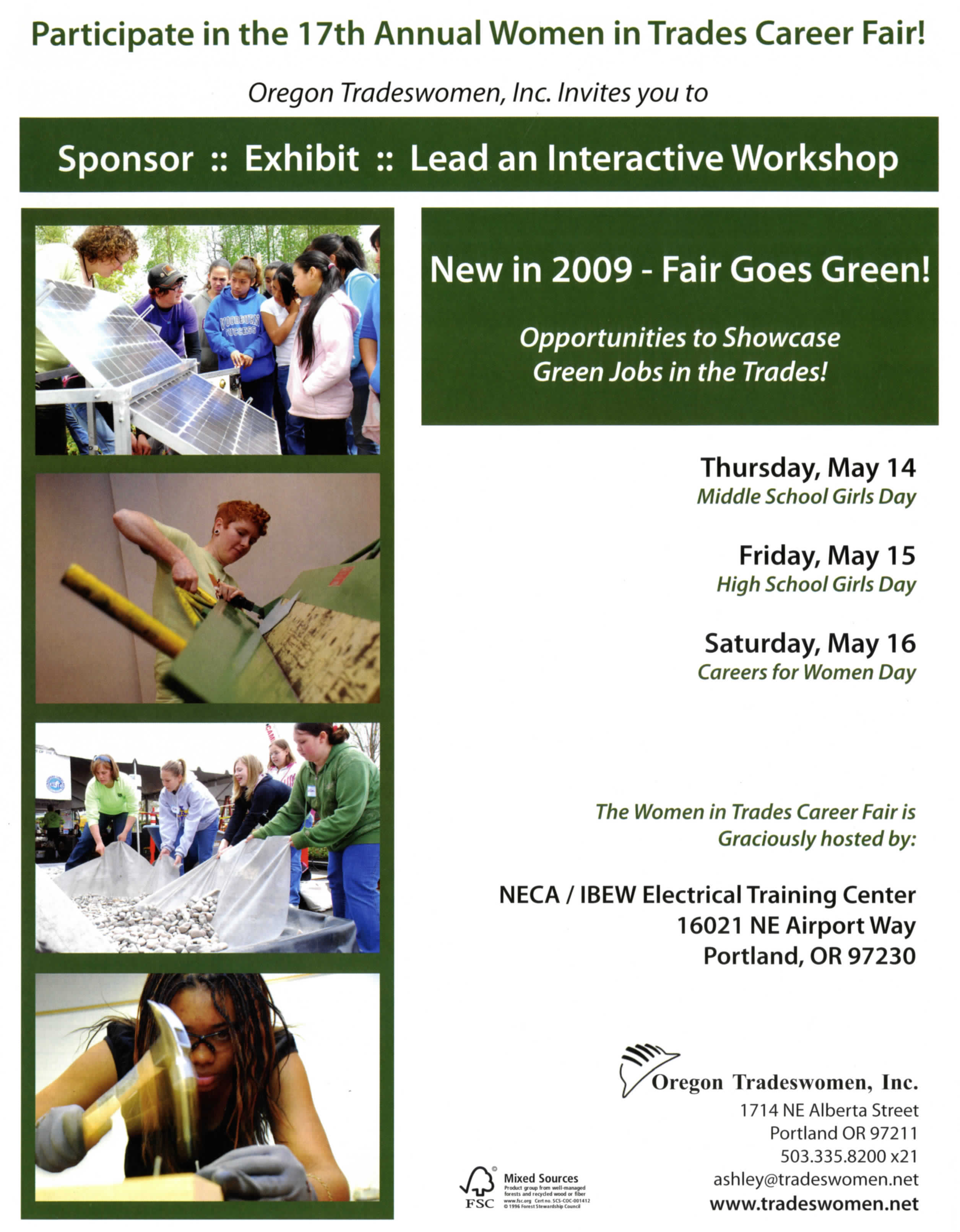 Brochure for the 17th annual Women in Trades Career Fair sponsored by Oregon Tradeswomen, Inc.