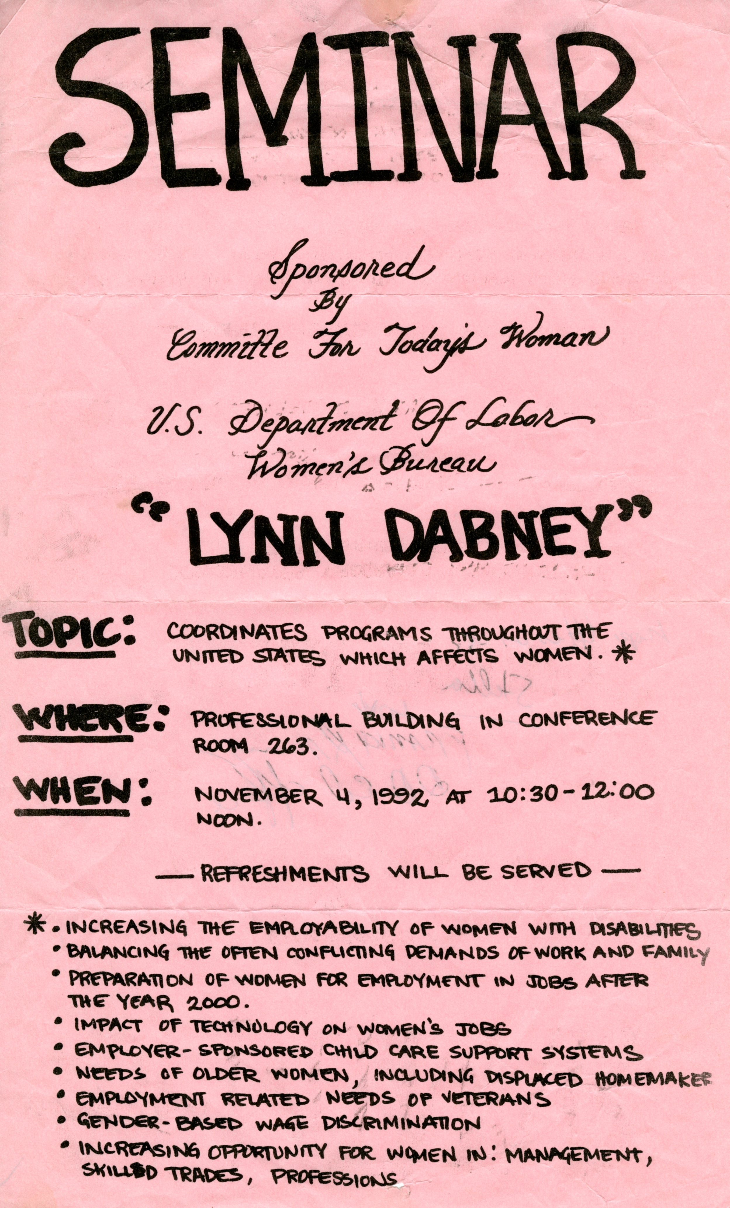 Flyer for Seminar by Lynn Dabney