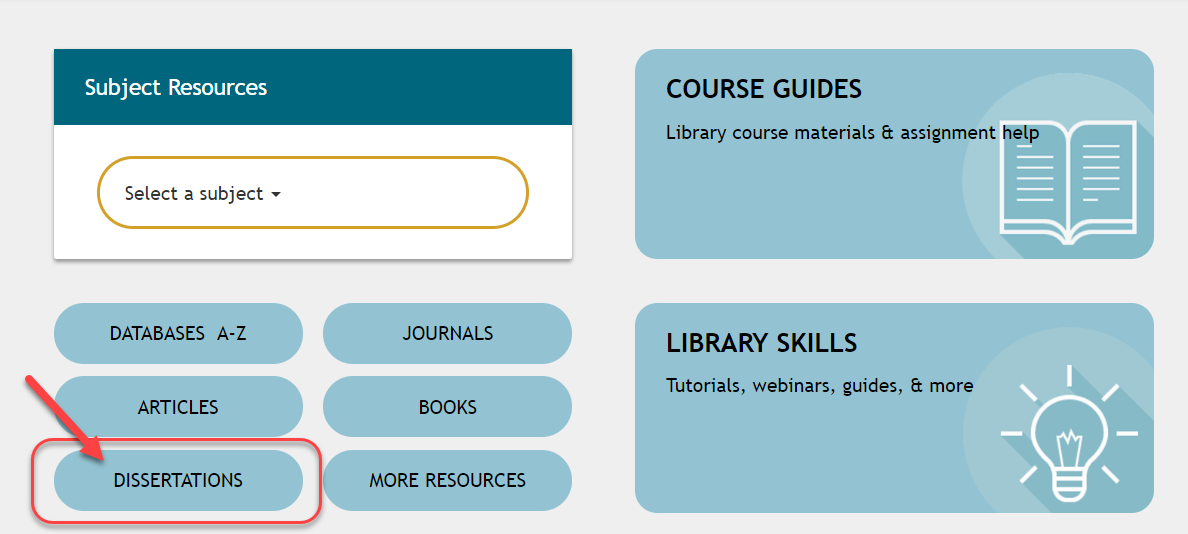 Library home page arrow pointing to dissertations