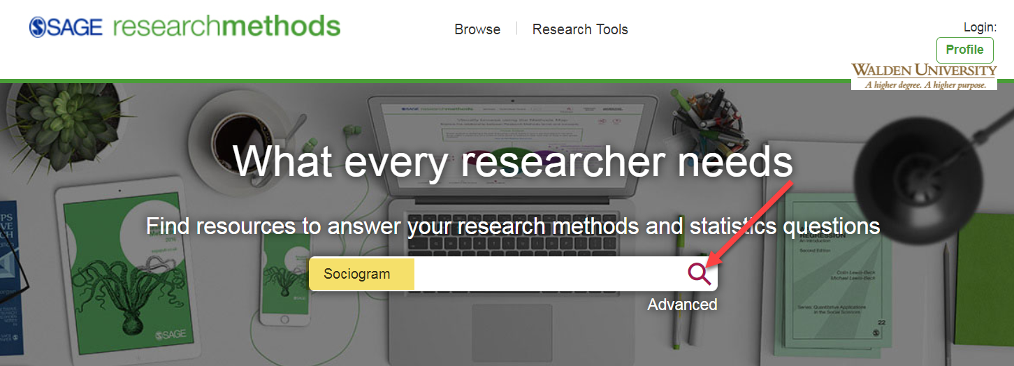 SRMO search box searching Sociogram and arrow pointing to magnifying glass