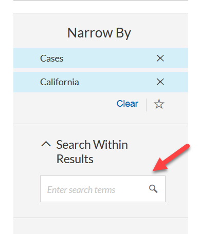 Narrow by options search within results box