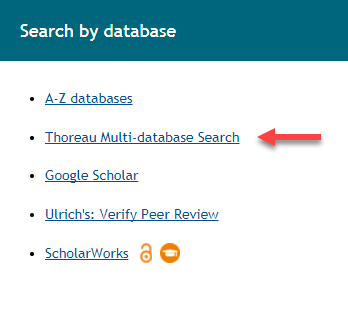 Search by database box with Thoreau link