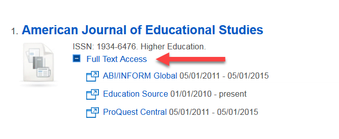 Results for American Journal of Education Studies with Full Text Access opened to show databases that have that journal and coverage dates.