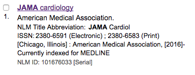 NLM journal abbreviation for JAMA cardiology is JAMA cardiol