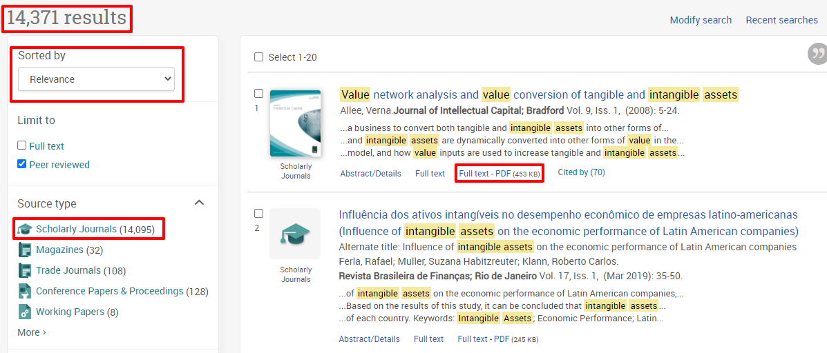 This search found over 14,000 articles. Results are sorted by relevance with the most relevant articles appearing at the top. Click on either the HTML Full Text or PDF Full Text links to download an article.