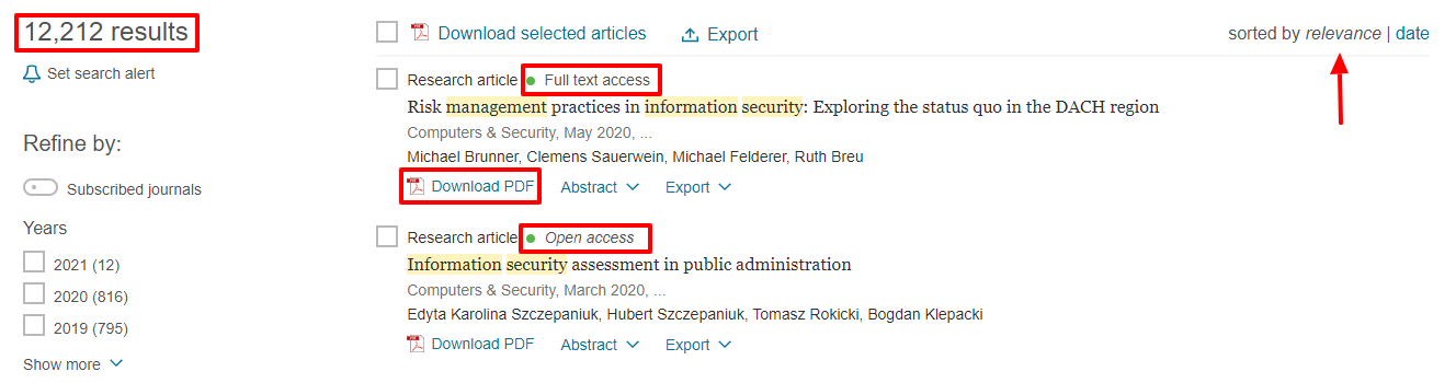 This search found 12,212 results that are sorted by relevance. Articles that are available have a green dot with Full text access listed about the title.