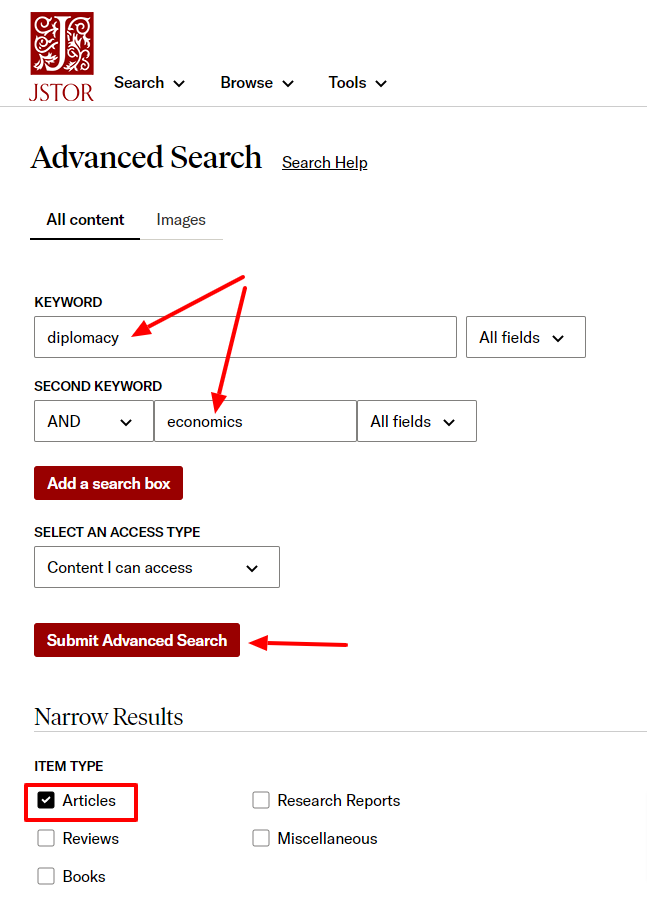Put your keywords in the search boxes and check the box next to Articles under Item Type. Click the Submit Advanced Search button