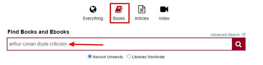 I picked the Books icon to show just books in my search results and I put criticism after the author's name