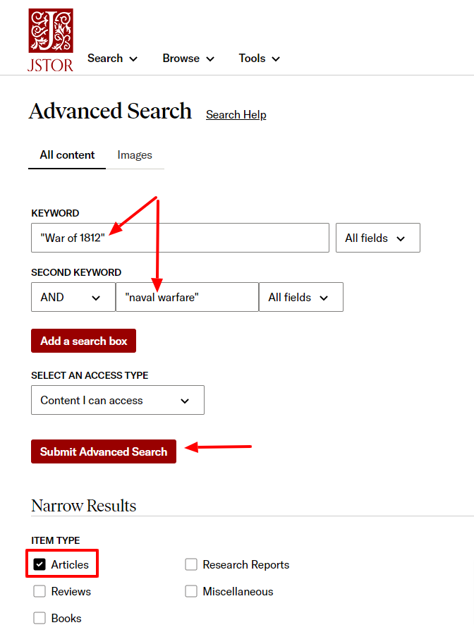 I put my keywords in quotation marks to search for the words together as a phrase and also put them in separate search boxes. I checked the box next to Articles under Item Type.