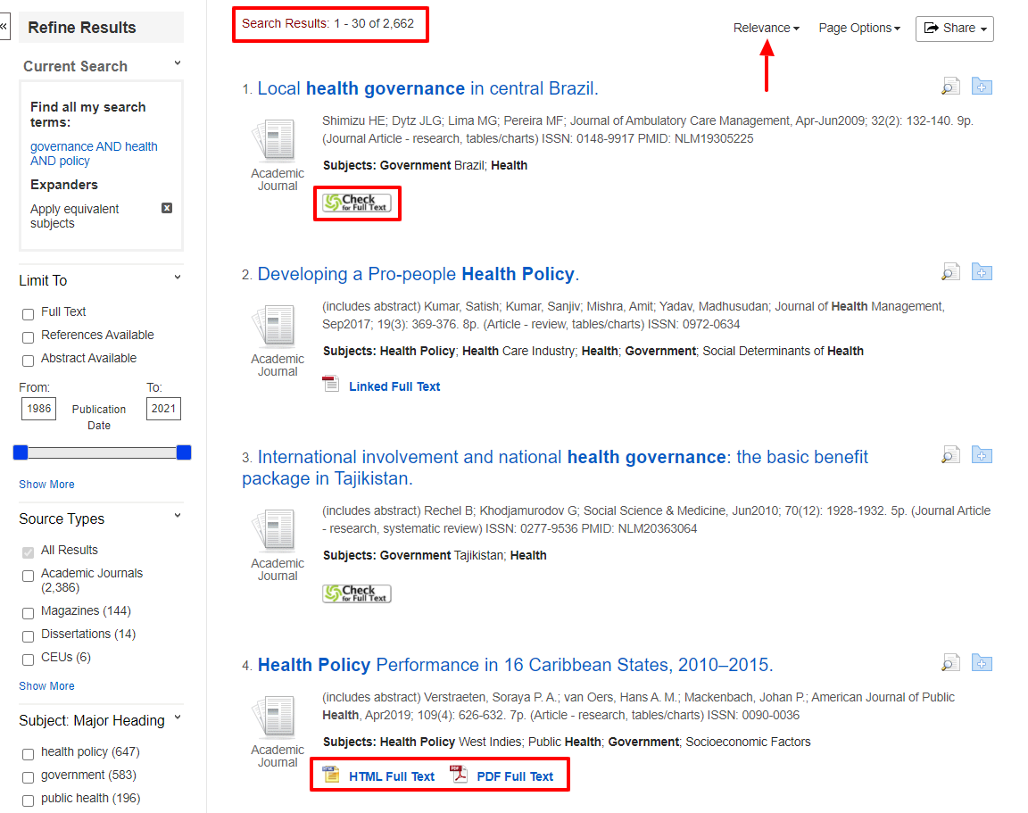 This search found 906 journal articles that are sorted by relevance. Click the HTML or PDF full text to download the article or click the Check for Full Text button to find the article in another database.