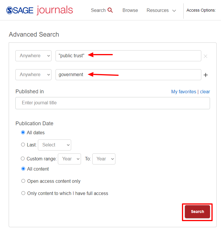 I put my keywords into different search boxes for a simpler search and clicked the Search button to start finding articles.