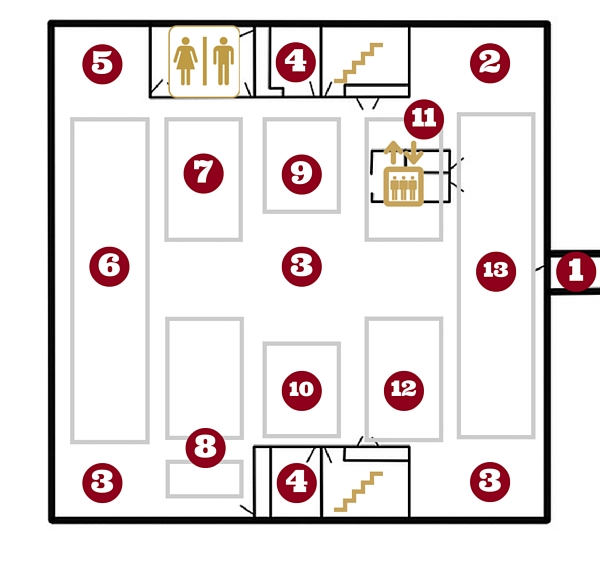 2nd floor map with directory numbering