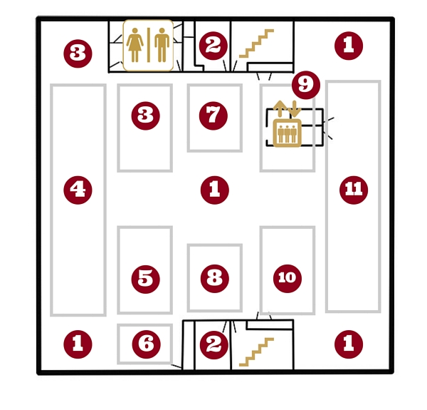 3rd floor map with directory numbering