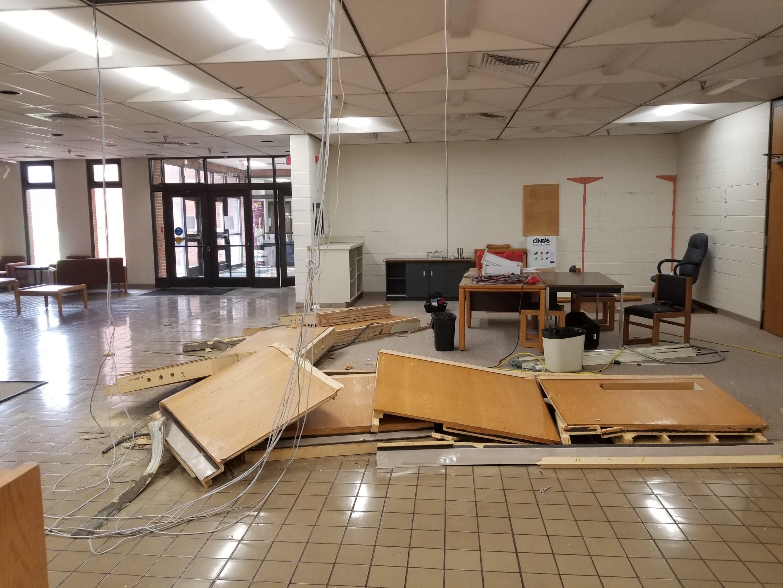 Demolished circulation desk