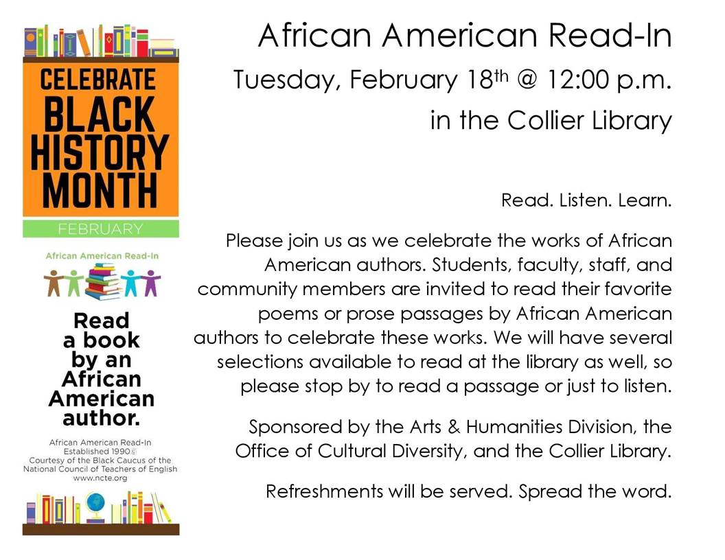 African American Readi-In, February 18, 12 pm, Library
